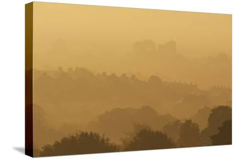 The Town and Castle of Lewes Early on a Misty, Autumnal Morning, East Sussex, Uk-Design Pics Inc-Stretched Canvas Print