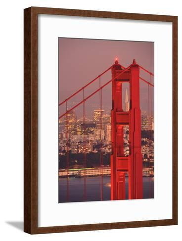 View from Golden Gate National Recreation Area Golden Gate Bridge with City of San Francisco-Design Pics Inc-Framed Art Print