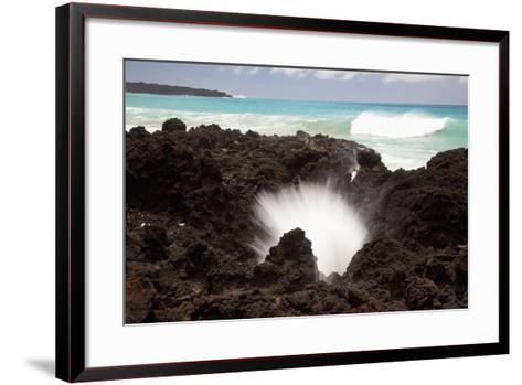 Hawaii, Maui, La Perouse Bay, a Burst of Water Through a Blowhole in Some Lava Rocks-Design Pics Inc-Framed Art Print