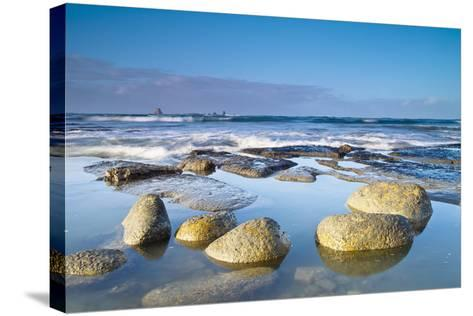 Boulders in the Water with Snow and Ice; Cape Foulwind South Island New Zealand-Design Pics Inc-Stretched Canvas Print