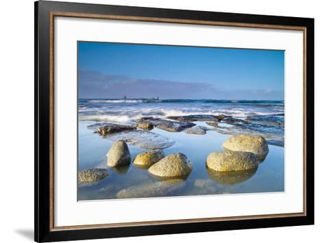 Boulders in the Water with Snow and Ice; Cape Foulwind South Island New Zealand-Design Pics Inc-Framed Art Print