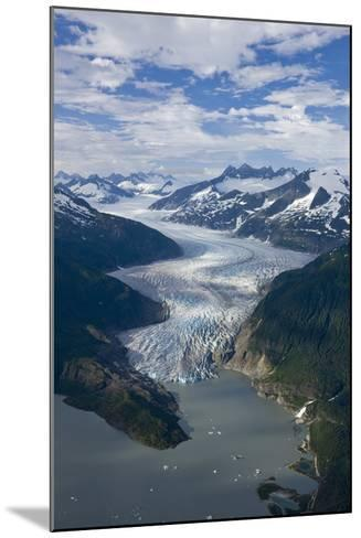 Aerial View of Mendenhall Glacier Winding its Way Down from the Juneau Icefield to Mendenhall Lake-Design Pics Inc-Mounted Photographic Print