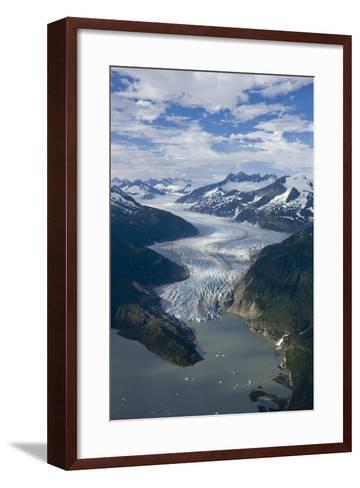 Aerial View of Mendenhall Glacier Winding its Way Down from the Juneau Icefield to Mendenhall Lake-Design Pics Inc-Framed Art Print