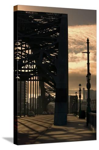 Silhouette of Bridge; Newcastle Upon Tyne, Tyne and Wear, England, Uk-Design Pics Inc-Stretched Canvas Print