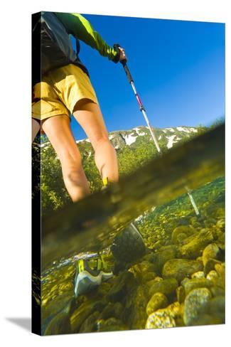 Underwater View of a Hiker Crossing Stream-Design Pics Inc-Stretched Canvas Print