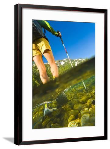 Underwater View of a Hiker Crossing Stream-Design Pics Inc-Framed Art Print