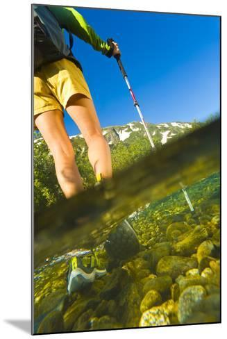 Underwater View of a Hiker Crossing Stream-Design Pics Inc-Mounted Photographic Print