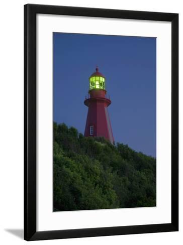 Red Lighthouse Illuminated; La Martre Quebec Canada-Design Pics Inc-Framed Art Print