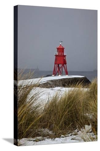 A Red Lighthouse Along the Coast; South Shields, Tyne and Wear, England-Design Pics Inc-Stretched Canvas Print