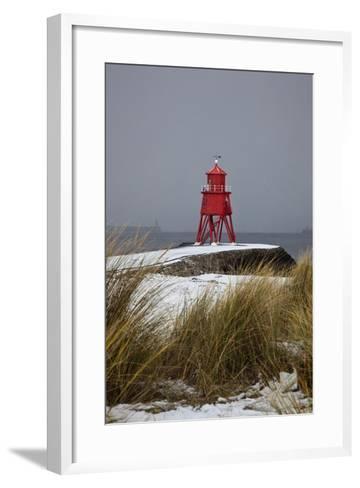 A Red Lighthouse Along the Coast; South Shields, Tyne and Wear, England-Design Pics Inc-Framed Art Print