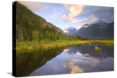 Eagle and Polar Bear Peak Reflected in Marsh Eagle River Valley Chugach Sp Ak Sc Summer-Design Pics Inc-Stretched Canvas Print