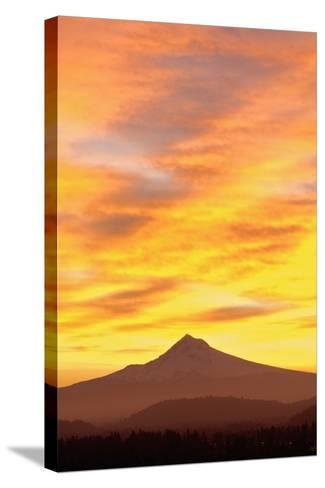 Sunrise over Mount Hood, Portland, Oregon, USA-Design Pics Inc-Stretched Canvas Print