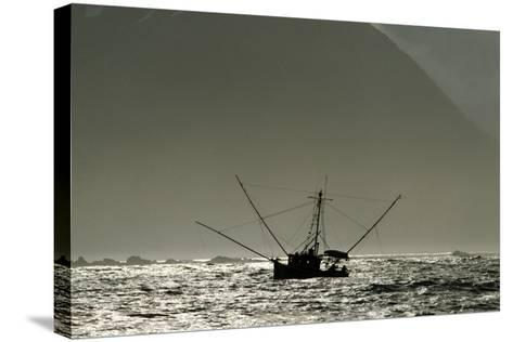 Silhouetted Salmon Troller Fishing Off Icy Point, Gulf of Alaska During Mid-Summer-Design Pics Inc-Stretched Canvas Print