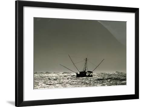 Silhouetted Salmon Troller Fishing Off Icy Point, Gulf of Alaska During Mid-Summer-Design Pics Inc-Framed Art Print