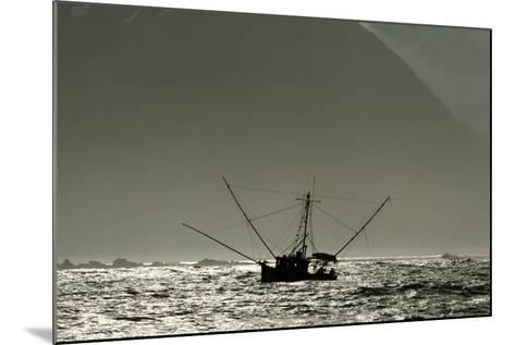 Silhouetted Salmon Troller Fishing Off Icy Point, Gulf of Alaska During Mid-Summer-Design Pics Inc-Mounted Photographic Print