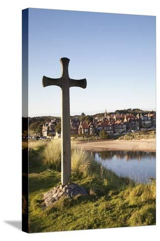 Cross on a Hill Overlooking Town; Alnmouth, Northumberland, England-Design Pics Inc-Stretched Canvas Print