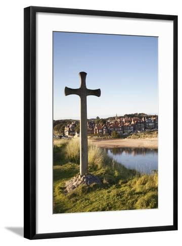 Cross on a Hill Overlooking Town; Alnmouth, Northumberland, England-Design Pics Inc-Framed Art Print