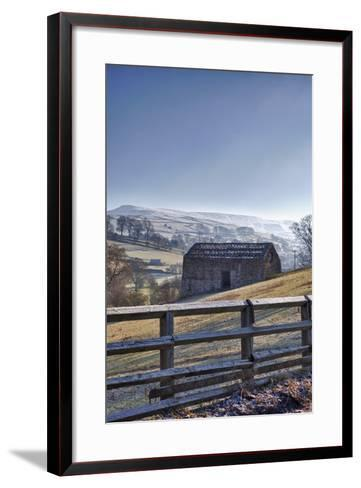 A Barn on a Hilly Landscape in the Fog; Yorkshire Dales, England-Design Pics Inc-Framed Art Print