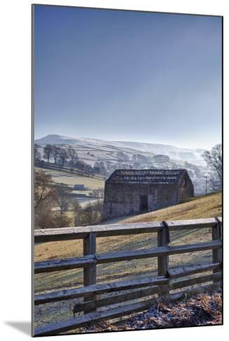 A Barn on a Hilly Landscape in the Fog; Yorkshire Dales, England-Design Pics Inc-Mounted Photographic Print