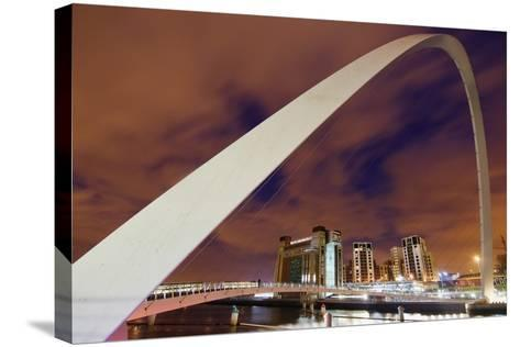 Looking over the Tyne at Dusk Through the Winking Bridge to the Baltic Arts Centre-Design Pics Inc-Stretched Canvas Print