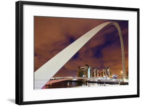 Looking over the Tyne at Dusk Through the Winking Bridge to the Baltic Arts Centre-Design Pics Inc-Framed Art Print