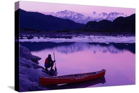 Woman Viewing Lake Next to Canoe Shoup Bay Marine Park-Design Pics Inc-Stretched Canvas Print