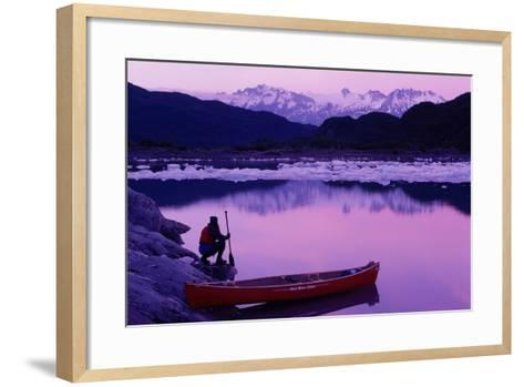 Woman Viewing Lake Next to Canoe Shoup Bay Marine Park-Design Pics Inc-Framed Art Print