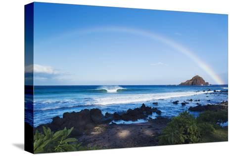 Hawaii, Maui, Hana, Dramatic Coastline, Rainbow over Ocean-Design Pics Inc-Stretched Canvas Print