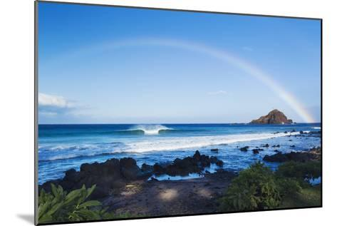 Hawaii, Maui, Hana, Dramatic Coastline, Rainbow over Ocean-Design Pics Inc-Mounted Photographic Print