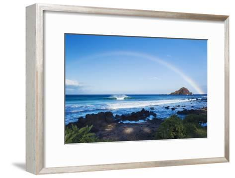 Hawaii, Maui, Hana, Dramatic Coastline, Rainbow over Ocean-Design Pics Inc-Framed Art Print