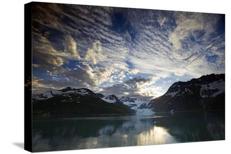 View of Surprise Glacier at Sunset Harriman Fjord Pws Southcentral Alaska Summer-Design Pics Inc-Stretched Canvas Print