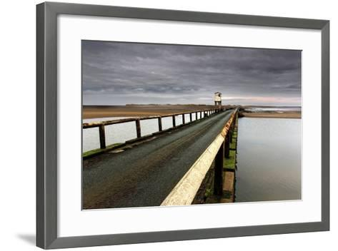 A Road Going over Water Towards a Beach; Northumberland,England-Design Pics Inc-Framed Art Print
