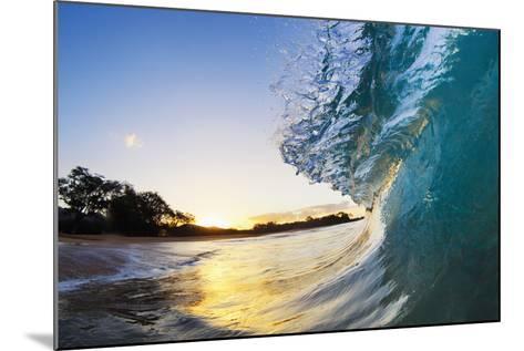 Hawaii, Maui, Makena, Beautiful Blue Ocean Wave Breaking at the Beach at Sunrise-Design Pics Inc-Mounted Photographic Print