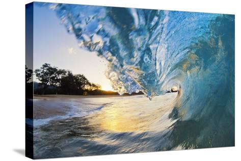 Hawaii, Maui, Makena, Beautiful Blue Ocean Wave Breaking at the Beach at Sunrise-Design Pics Inc-Stretched Canvas Print