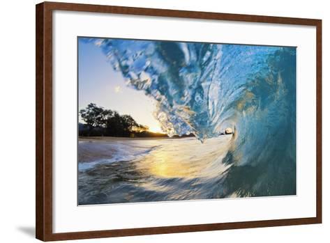 Hawaii, Maui, Makena, Beautiful Blue Ocean Wave Breaking at the Beach at Sunrise-Design Pics Inc-Framed Art Print