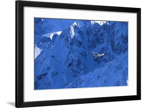 Small Plane Flying Above Chugach Mts Southcentral Ak - Nspring-Design Pics Inc-Framed Art Print