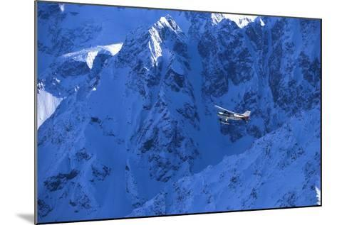 Small Plane Flying Above Chugach Mts Southcentral Ak - Nspring-Design Pics Inc-Mounted Photographic Print