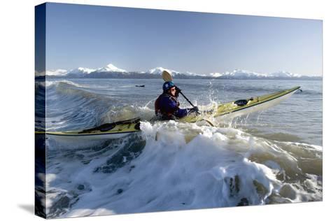 Man Paddles Kayak in Surf Kachemak Bay Homer Ak Kp Spring-Design Pics Inc-Stretched Canvas Print