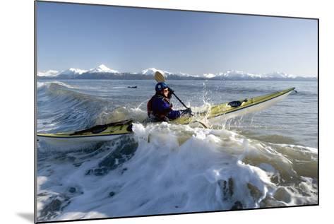 Man Paddles Kayak in Surf Kachemak Bay Homer Ak Kp Spring-Design Pics Inc-Mounted Photographic Print