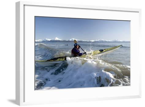 Man Paddles Kayak in Surf Kachemak Bay Homer Ak Kp Spring-Design Pics Inc-Framed Art Print