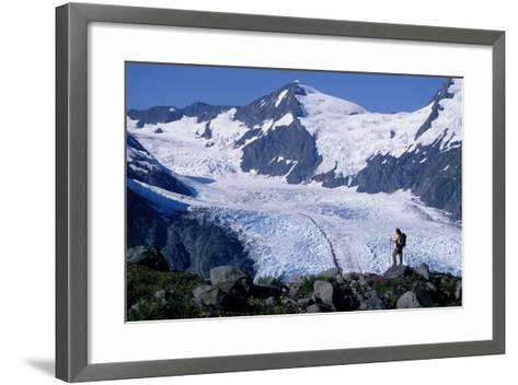 Couple Hiking at Portage Pass with View of Glacier Ak-Design Pics Inc-Framed Art Print