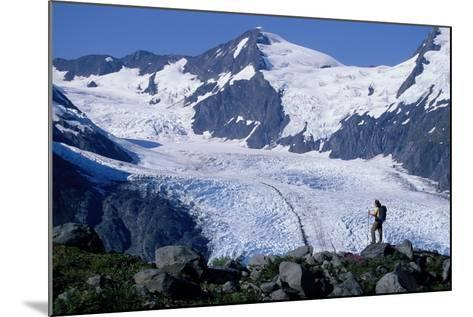 Couple Hiking at Portage Pass with View of Glacier Ak-Design Pics Inc-Mounted Photographic Print