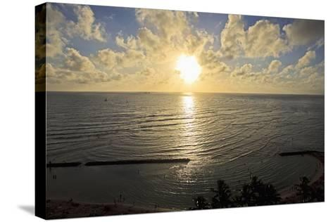 Hawaii, Oahu, Sunset over Waikiki Beach and Ocean-Design Pics Inc-Stretched Canvas Print