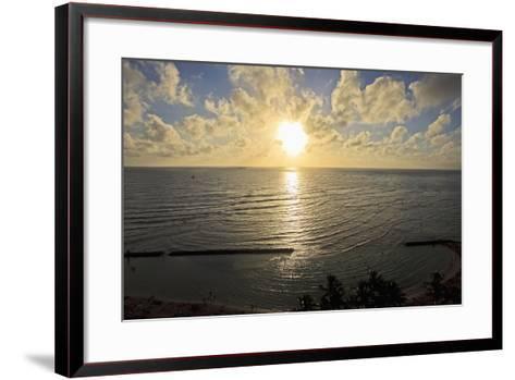 Hawaii, Oahu, Sunset over Waikiki Beach and Ocean-Design Pics Inc-Framed Art Print