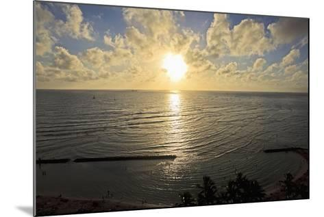 Hawaii, Oahu, Sunset over Waikiki Beach and Ocean-Design Pics Inc-Mounted Photographic Print