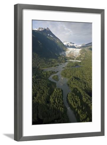 Aerial View of Herbert Glacier and Herbert River as it Winds its Way Down-Design Pics Inc-Framed Art Print
