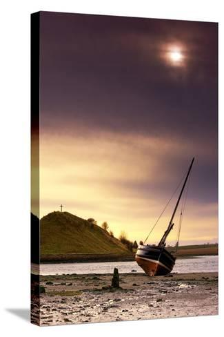 Boat on Beach at Low Tide; Alnmouth, Northumberland, England-Design Pics Inc-Stretched Canvas Print
