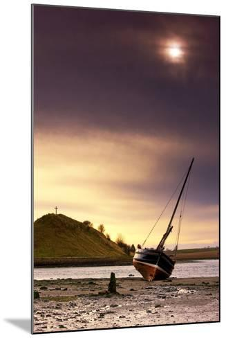 Boat on Beach at Low Tide; Alnmouth, Northumberland, England-Design Pics Inc-Mounted Photographic Print