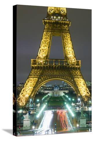 Traffic on Champs D'Elysees under Eiffel Tower at Night, Paris,France-Design Pics Inc-Stretched Canvas Print