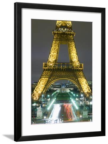 Traffic on Champs D'Elysees under Eiffel Tower at Night, Paris,France-Design Pics Inc-Framed Art Print